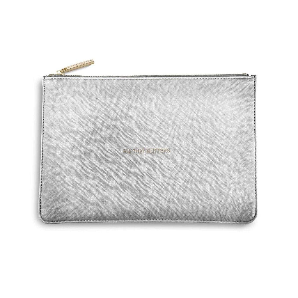 Katie Loxton Gifts One Size Katie Loxton All That Glitters Perfect Pouch in Metallic Silver KLB042 izzi-of-baslow