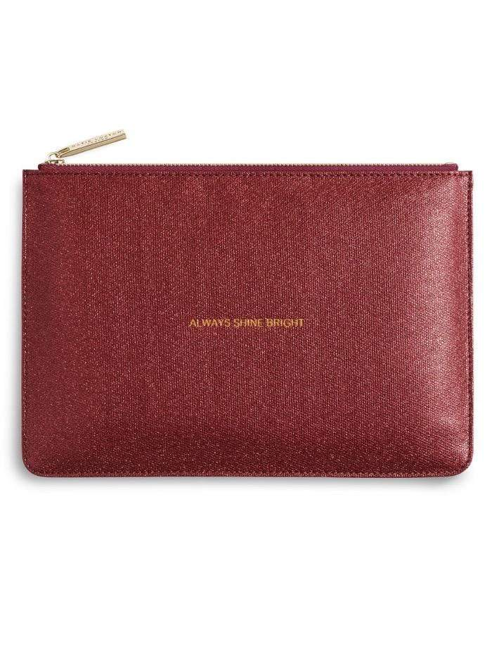 Katie Loxton Gifts One Size Katie Loxton 'Always Shine Bright' Perfect Pouch in Metallic Red KLB345 S izzi-of-baslow