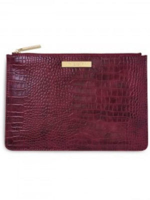 Katie Loxton Gifts One Size Katie Loxton Celine Faux Croc Perfect Pouch in Burgundy KLB1148 izzi-of-baslow