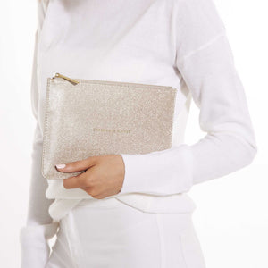 Katie Loxton Gifts One Size Katie Loxton Champagne Please Perfect Pouch in Champagne Shimmer KLB347 izzi-of-baslow
