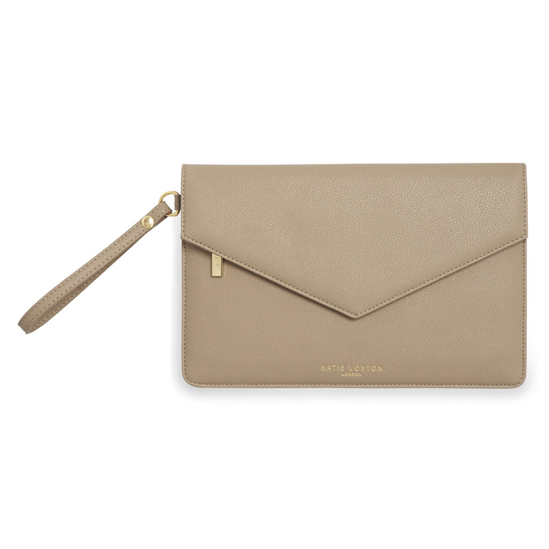 Katie Loxton Gifts One Size Katie Loxton Esme Envelope Taupe Clutch Bag KLB794 izzi-of-baslow