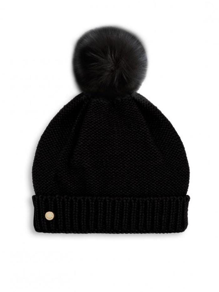 Katie Loxton Gifts One Size Katie Loxton Faux Fur Black Bobble Hat KLS175 izzi-of-baslow