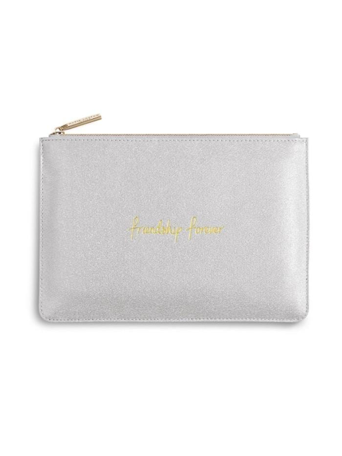 Katie Loxton Gifts One Size Katie Loxton Friendship Forever Perfect Pouch in Metallic Silver KLB izzi-of-baslow