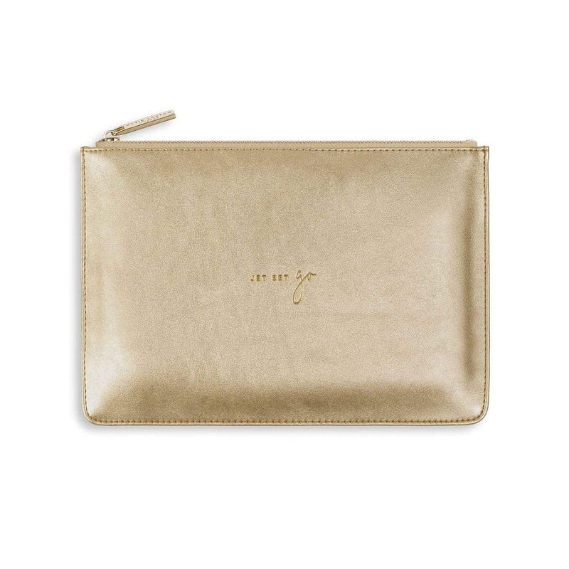 Katie Loxton Gifts One Size Katie Loxton Jet Set Go Perfect Pouch in Metallic Gold KLB497 izzi-of-baslow