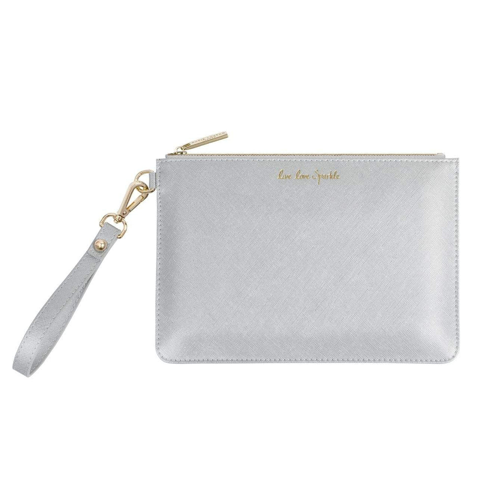 Katie Loxton Gifts One Size Katie Loxton Live Love Sparkle Silver Secret Message Perfect Pouch KLB364 izzi-of-baslow