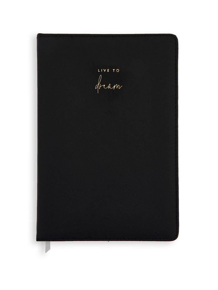 Katie Loxton Gifts One Size Katie Loxton 'Live To Dream' Black PU Notebook KLST006 izzi-of-baslow