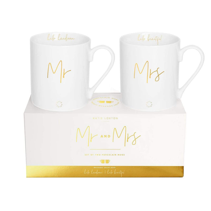 Katie Loxton Gifts One Size Katie Loxton Mr and Mrs Porcelain Mug Gift Set KLCW026 izzi-of-baslow