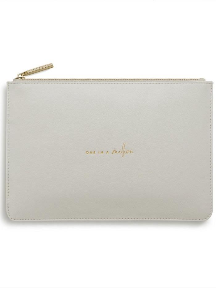 Katie Loxton Gifts One Size Katie Loxton 'One In A Million' Perfect Pouch in Pale Grey KLB611 izzi-of-baslow