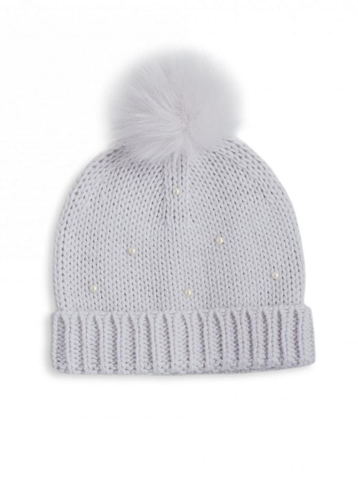 Katie Loxton Gifts One Size Katie Loxton Pearl Knit Grey Bobble Hat KLS114 izzi-of-baslow