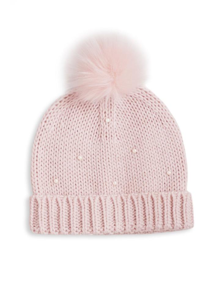 Katie Loxton Gifts One Size Katie Loxton Pearl Knit Pink Bobble Hat KLS114 izzi-of-baslow
