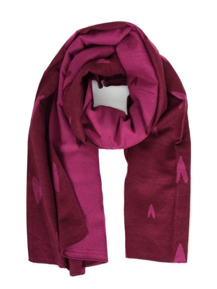 Katie Loxton Gifts One Size Katie Loxton Soft Heart Scarf Burgundy and Raspberry izzi-of-baslow