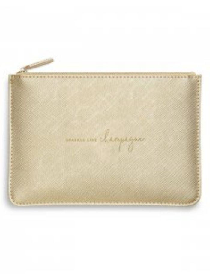Katie Loxton Gifts One Size Katie Loxton 'Sparkle Like Champagne' Perfect Pouch in Metallic Gold KLB1072 izzi-of-baslow