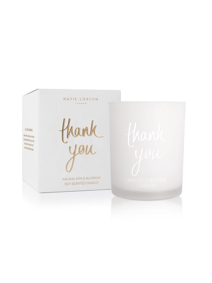Katie Loxton Gifts One Size Katie Loxton 'Thank You' Candle in White Box With Gold Writing KLC092 S izzi-of-baslow