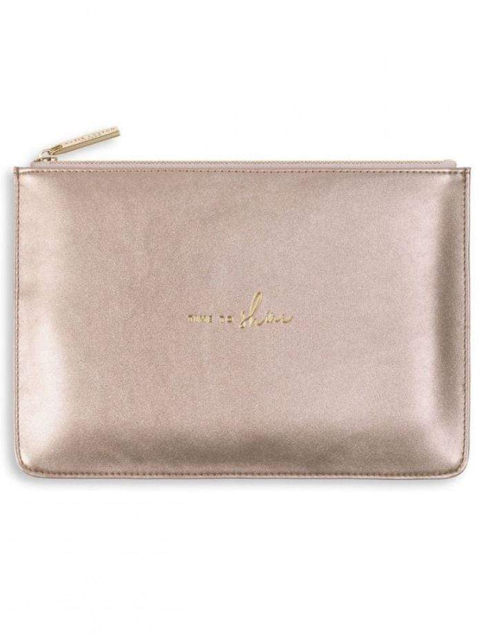 Katie Loxton Gifts One Size Katie Loxton 'Time To Shine' Perfect Pouch in Rose Gold KLB496 izzi-of-baslow