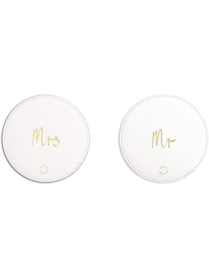 Katie Loxton Gifts One Size Katie Loxton White 'Mr and Mrs' 2 Pack Coasters KLH izzi-of-baslow