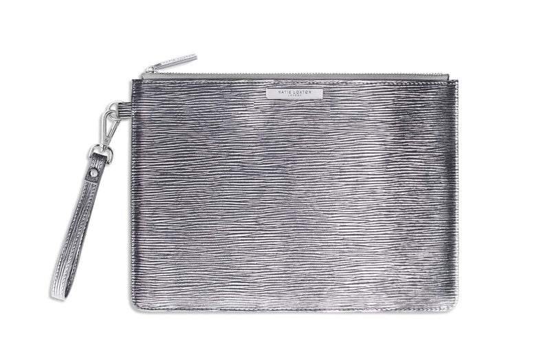 Katie Loxton Gifts One Size Katie Loxton Zara Metallic Silver Large Clutch Bag KLB179 izzi-of-baslow