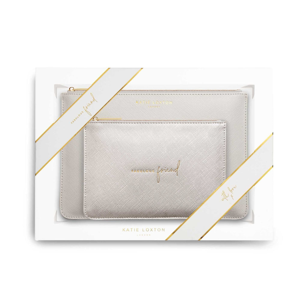 Katie Loxton Handbags One Size Katie Loxton Perfect Pouch Gift Set Fabulous Friend Silver KLB585 izzi-of-baslow