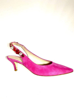 Kennel & Schmenger Shoes Kennel & Schmenger Kitten Heel Jewelled Sling Fuchsia 91-46960-387 izzi-of-baslow