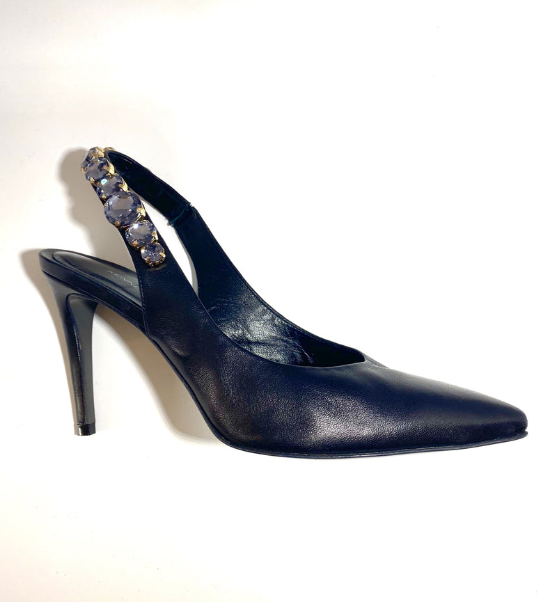 Kennel & Schmenger Shoes Kennel & Schmenger Sling Back Court With Jewels Black 91-83930-310 izzi-of-baslow