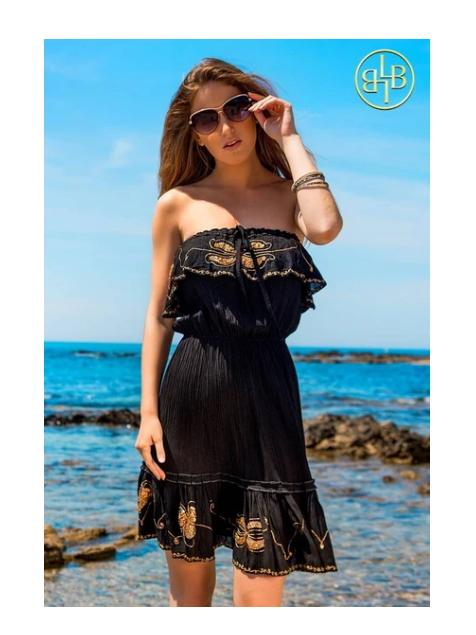 Lindsey Brown Resortwear Beachwear Lindsey Brown Black and Gold Atheni Bandeau Dress izzi-of-baslow
