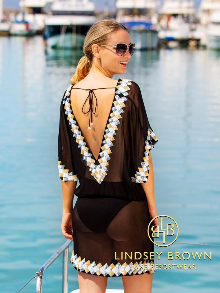 Lindsey Brown Resortwear Beachwear Lindsey Brown Black Miami Kaftan izzi-of-baslow