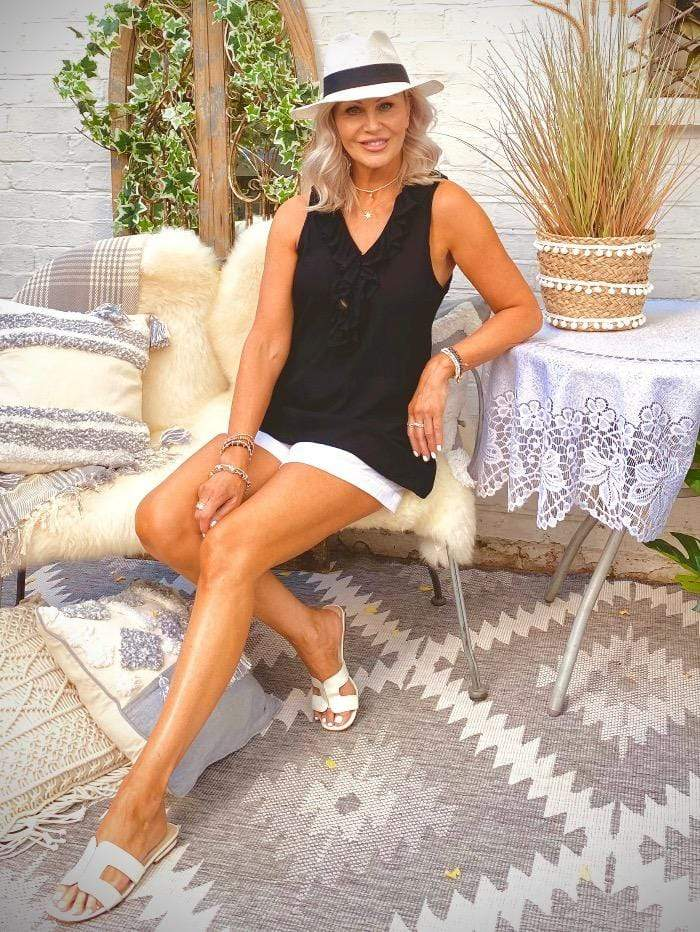 Lindsey Brown Resortwear Beachwear Lindsey Brown Florence Designer Frill Black Top izzi-of-baslow