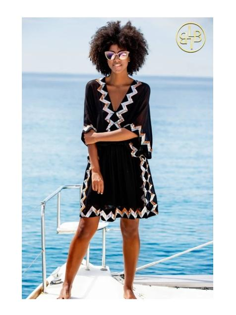 Lindsey Brown Resortwear Beachwear O/S Lindsey Brown Black Sequined Silk Resort Dress Paradise izzi-of-baslow