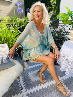 Lindsey Brown Resortwear Beachwear One Size Lindsey Brown Mojito Silk Designer Kaftan Top Duck Egg izzi-of-baslow