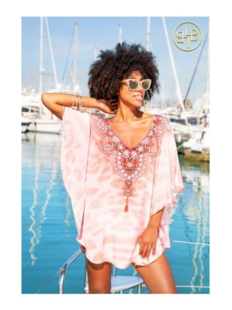 Lindsey Brown Resortwear Beachwear One Size Lindsey Brown Shell Pink Sparkling Beach Cover Up Calypso izzi-of-baslow