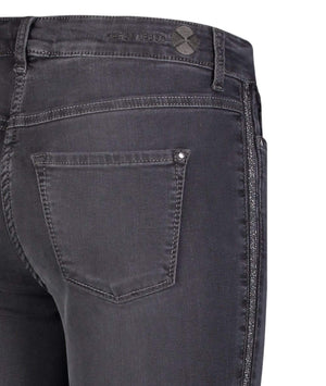 Mac Jeans Jeans Mac Dream Slim 5438 0355L D975 Charcoal With Glittery Side Stripe Jeans izzi-of-baslow