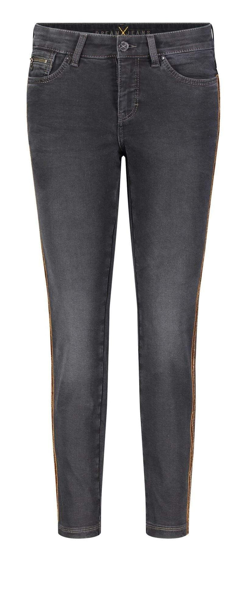 Mac Jeans Jeans Mac Dream Slim Black Wash With Tan Velvet and sparkly side seam Jean 5435 0355L D983 izzi-of-baslow