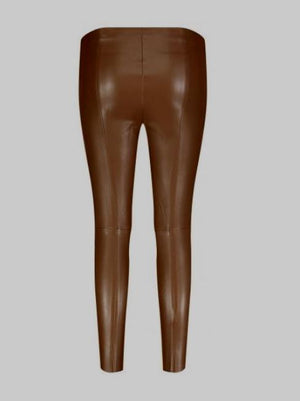Mac Jeans Trousers Mac 5978 Faux Leather Pleather Leggings Brown izzi-of-baslow