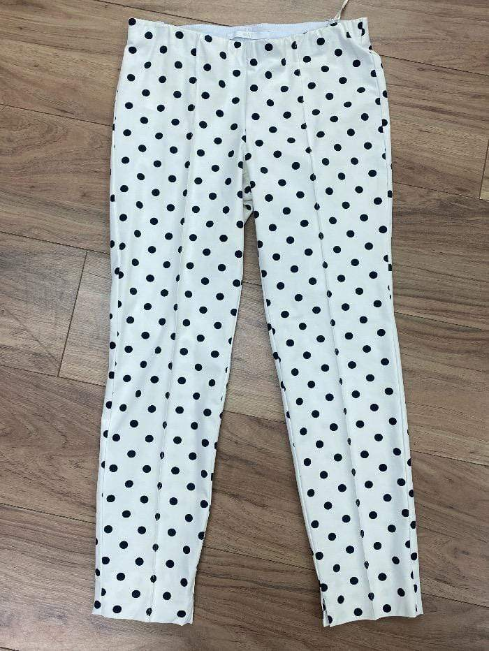 Mac Jeans Trousers Mac Anna Summer 5289 0123 White With Black Spot Pull On Trousers 010B izzi-of-baslow