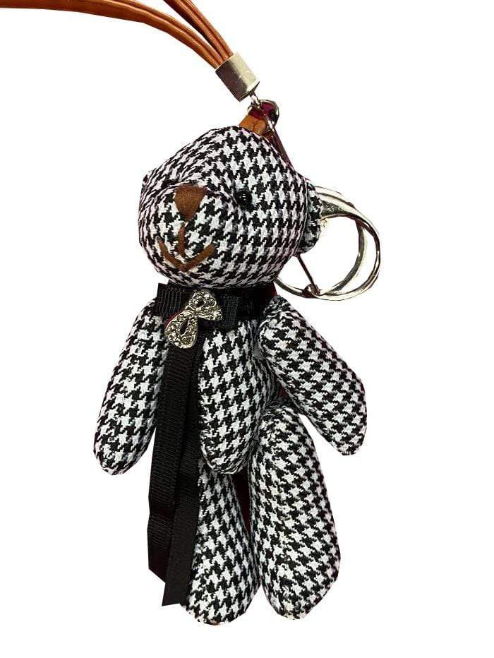 Marc Cain Accessories One Size Marc Cain Black and White Dogtooth Checked Teddy Keyring GA G7.03 Z07 910 izzi-of-baslow