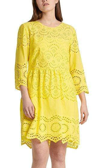 Marc Cain Additions Dresses 1 Marc Cain Lemon Dress with eyelet lace NA 21.08 W10 izzi-of-baslow