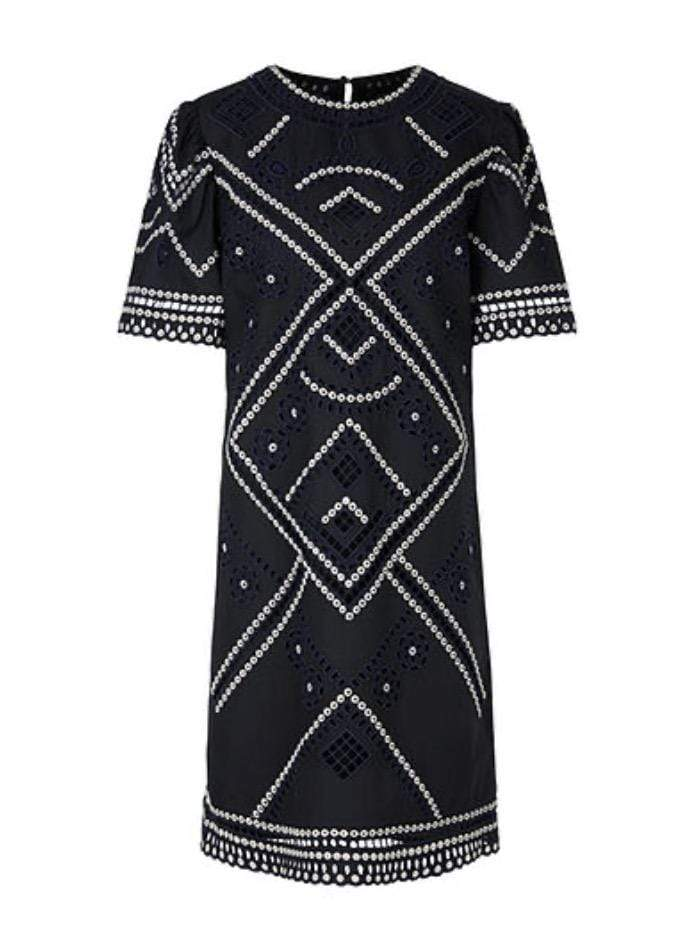 Marc Cain Additions Dresses Marc Cain Additions Midnight Navy Broderie Anglaise Dress QA 21.18 W14 395 izzi-of-baslow