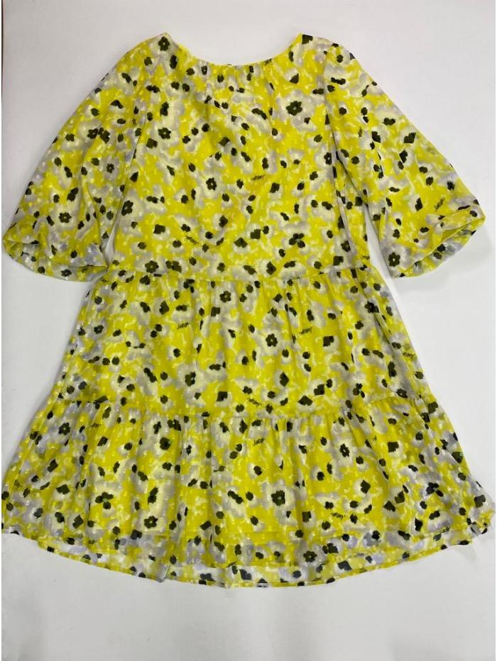 Marc Cain Additions Dresses Marc Cain Additions Pretty Tiered Lemon Flower Dress QA 21.23 W35 422 izzi-of-baslow