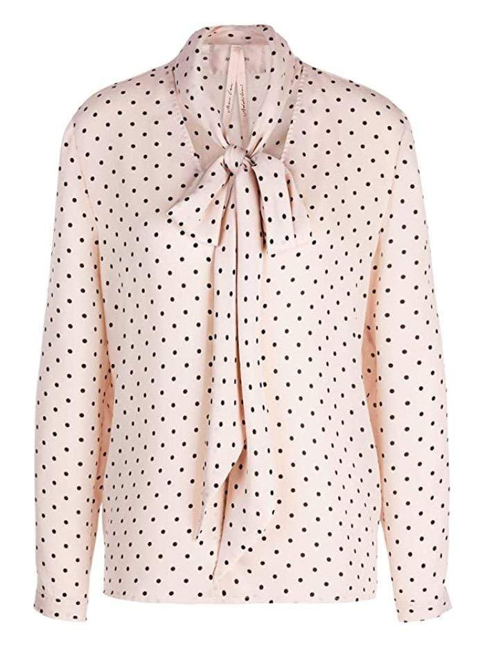 Marc Cain Additions Tops Marc Cain Additions Pink Spotty Blouse With Tie KA 51.10 W08 izzi-of-baslow