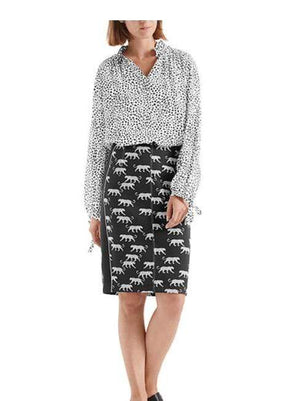 Marc Cain Additions Tops Marc Cain Collections Mixed Silk Blouse White and Black NC 51.19 W35 izzi-of-baslow