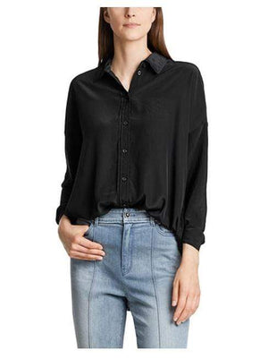 Marc Cain Additions Tops Marc Cain Sports Flowing Microfibre Blouse Black LS 51.07 W76 izzi-of-baslow