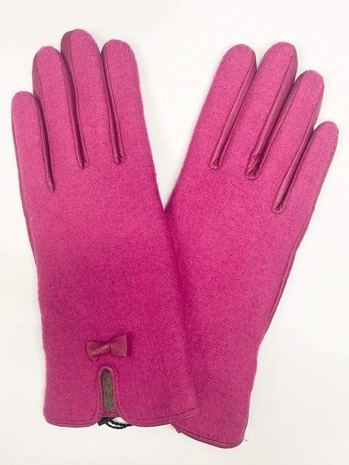 Marc Cain Collections Accessories Marc Cain Collections Pink Bow Gloves MC F1.03 L82 izzi-of-baslow