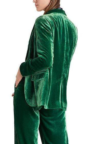 Marc Cain Collections Coats and Jackets Marc Cain Collections Fine Velvet Blazer in Fir 557 PC 34.17 W20 izzi-of-baslow
