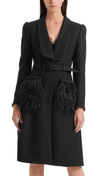 Marc Cain Collections Coats and Jackets Marc Cain Collections Glamorous Coat with Feather Trim Black 900 PC 11.21 W74 izzi-of-baslow