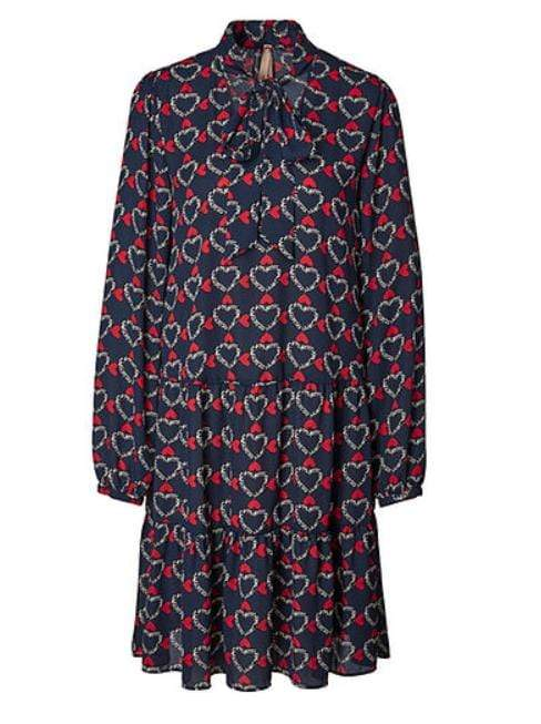 Marc Cain Collections Dresses 4 Marc Cain Additions Heart Print Dress Space Blue MA 21.09 W09 izzi-of-baslow