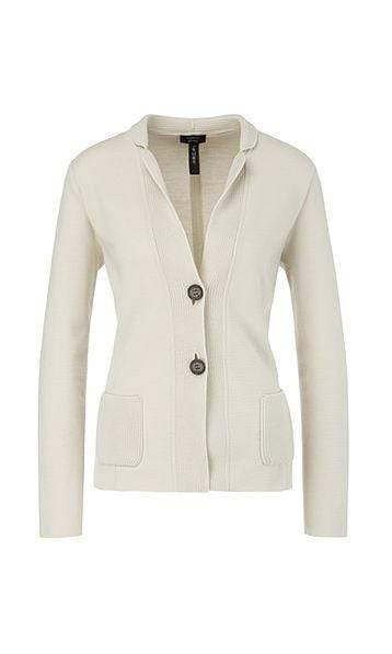 Marc Cain Collections Knitwear Marc Cain Collections Knitted Blazer in Moon Rock PC 34.02 M28 izzi-of-baslow