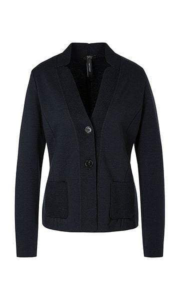 Marc Cain Collections Knitwear Marc Cain Collections Knitted Blazer Midnight Blue PC 34.02 M28 izzi-of-baslow