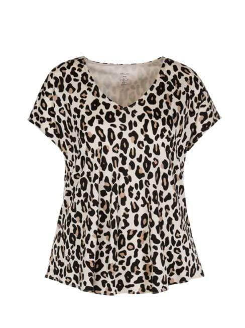 Marc Cain Collections Tops 1 Marc Cain Collections Leopard Print Flared V-neck Top Cuban Sand NC 48.28 J93 izzi-of-baslow