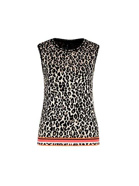 Marc Cain Collections Tops 2 Marc Cain Collections Jacquard-knit Top Leopard Print NC 61.07 M19 izzi-of-baslow