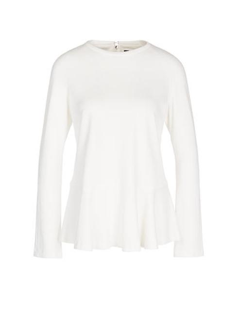 Marc Cain Collections Tops 2 Marc Cain Collections Peplum Top With Flounce Sleeves Off-White NC 48.01 J34 izzi-of-baslow
