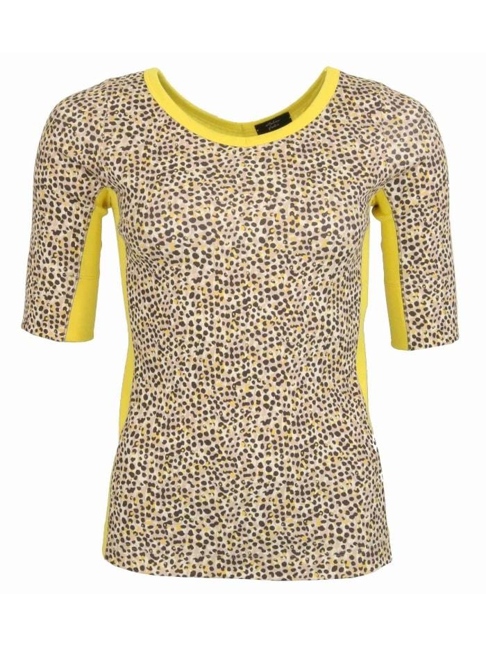 Marc Cain Collections Tops Marc Cain Collections Animal Print T-shirt  Yellow Trim NC 48.58 J43 624 izzi-of-baslow